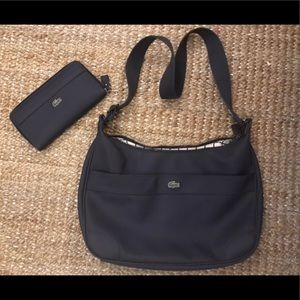 Lacoste Dark navy blue cross pursue with Wallet